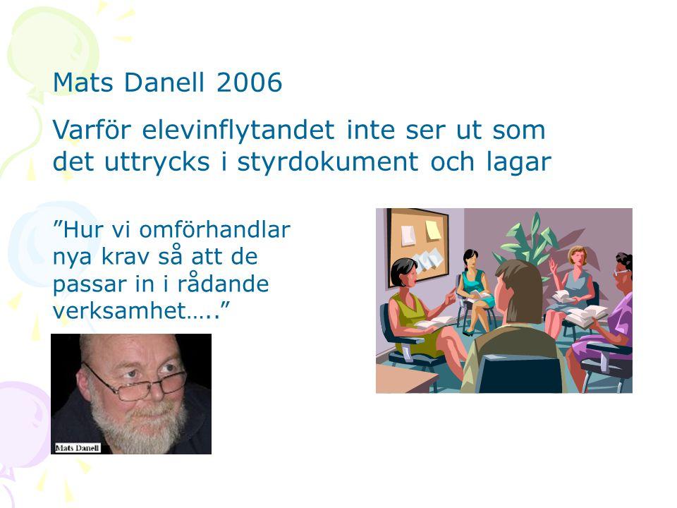 """Mats Danell 2006 Varför elevinflytandet inte ser ut som det uttrycks i styrdokument och lagar """"Hur vi omförhandlar nya krav så att de passar in i råda"""