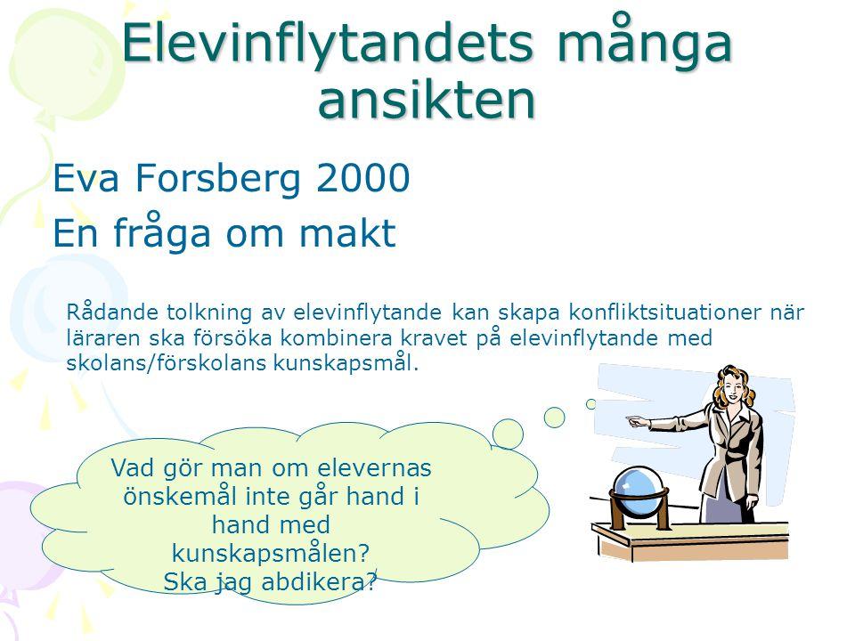 Elevinflytandets många ansikten Eva Forsberg 2000 En fråga om makt Rådande tolkning av elevinflytande kan skapa konfliktsituationer när läraren ska fö