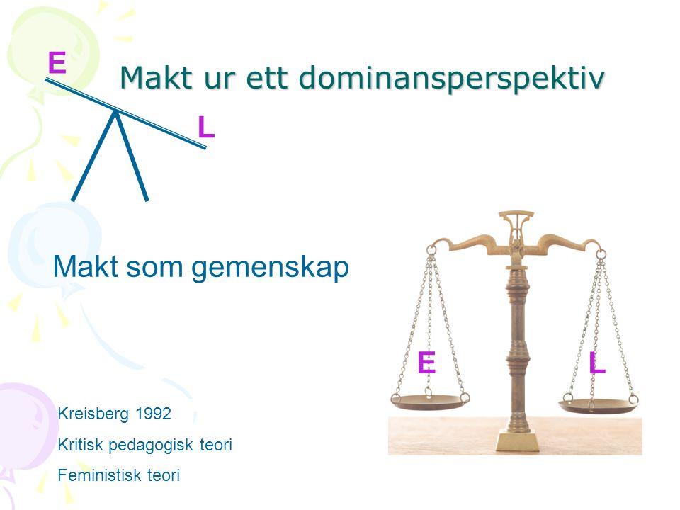 Makt ur ett dominansperspektiv E L Makt som gemenskap E L EL Kreisberg 1992 Kritisk pedagogisk teori Feministisk teori