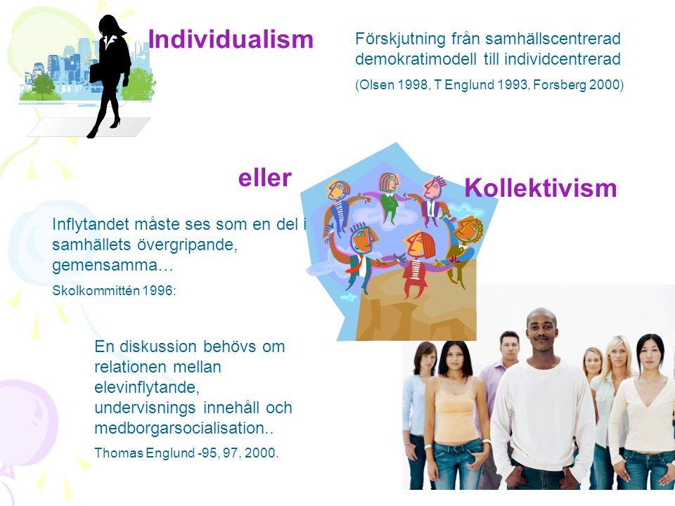 Individualism eller Kollektivism Förskjutning från samhällscentrerad demokratimodell till individcentrerad (Olsen 1998, T Englund 1993, Forsberg 2000)