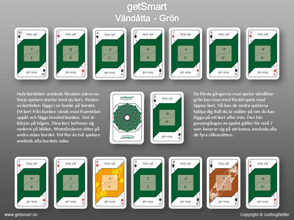 Hela kortleken används förutom jokrarna. Varje spelare startar med sju kort.
