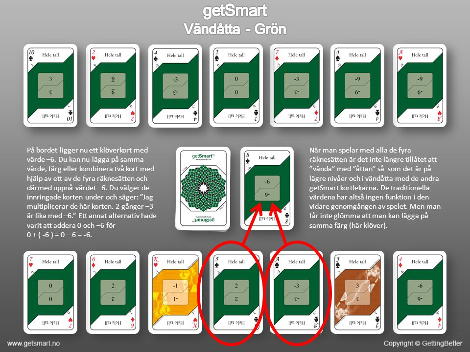 På bordet ligger nu ett klöverkort med värde –6.