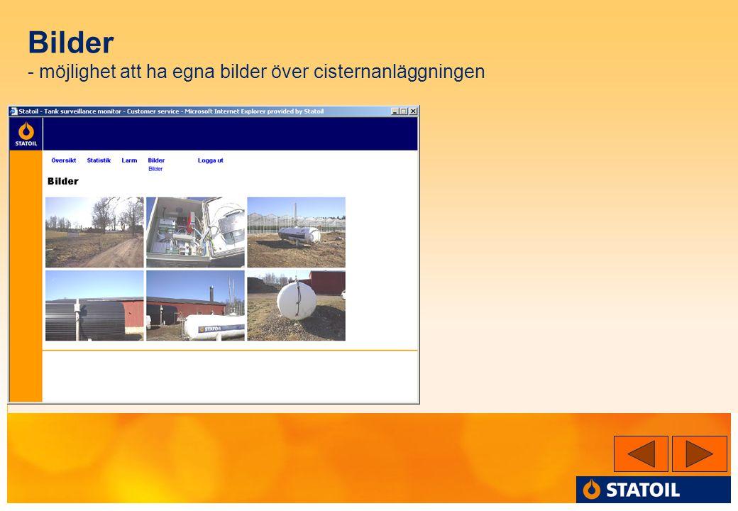Bilder - möjlighet att ha egna bilder över cisternanläggningen