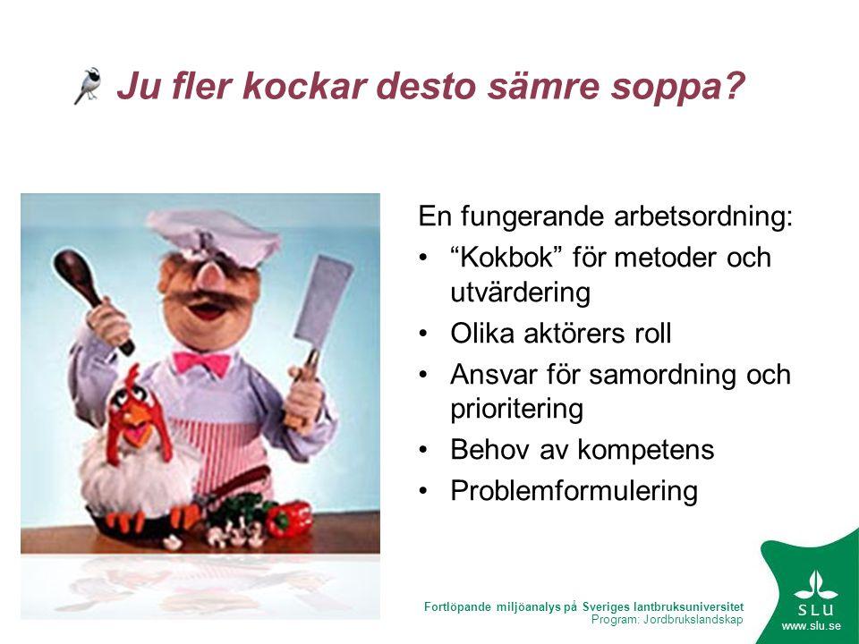 Fortlöpande miljöanalys på Sveriges lantbruksuniversitet Program: Jordbrukslandskap www.slu.se Ju fler kockar desto sämre soppa? En fungerande arbetso