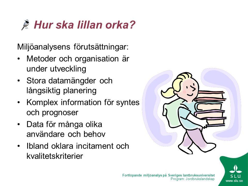 Fortlöpande miljöanalys på Sveriges lantbruksuniversitet Program: Jordbrukslandskap www.slu.se Hur ska lillan orka? Miljöanalysens förutsättningar: •M