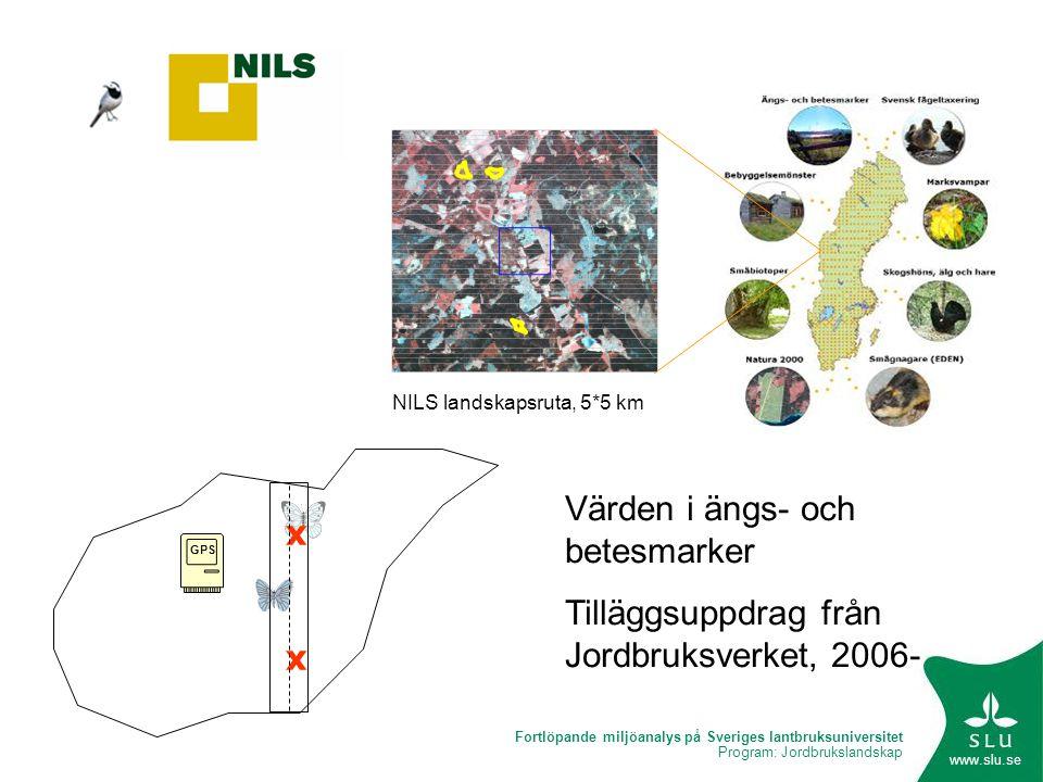 Fortlöpande miljöanalys på Sveriges lantbruksuniversitet Program: Jordbrukslandskap www.slu.se GPS xxxx NILS landskapsruta, 5*5 km Värden i ängs- och