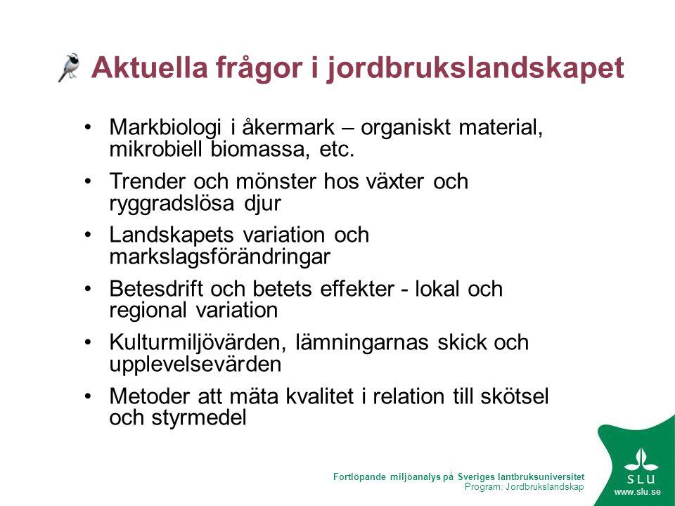 Fortlöpande miljöanalys på Sveriges lantbruksuniversitet Program: Jordbrukslandskap www.slu.se Aktuella frågor i jordbrukslandskapet •Markbiologi i åk