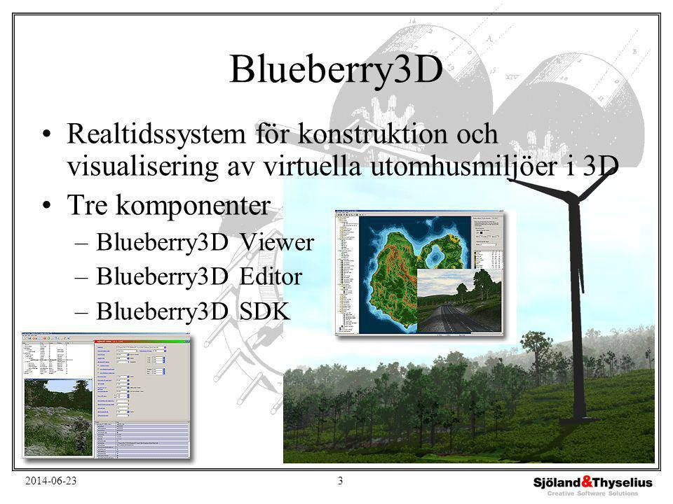 2014-06-234 Fraktalbaserad visualisering Liten databas - Enkel design - Naturlig terräng MultiGen-Paradigm Vega Blueberry3D är en visualiserings- komponent i simulatorsystem •Problem: De tillängliga datorresurserna är inte tillräckliga för att visualisera all terräng i realtid •Lösning: Visualisera endast närliggande terräng med hög detaljrikedom och minska detaljerna med avståndet från observatören –För detta används fraktaler i Blueberry3D