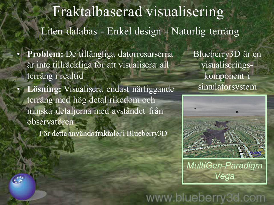 2014-06-234 Fraktalbaserad visualisering Liten databas - Enkel design - Naturlig terräng MultiGen-Paradigm Vega Blueberry3D är en visualiserings- komp