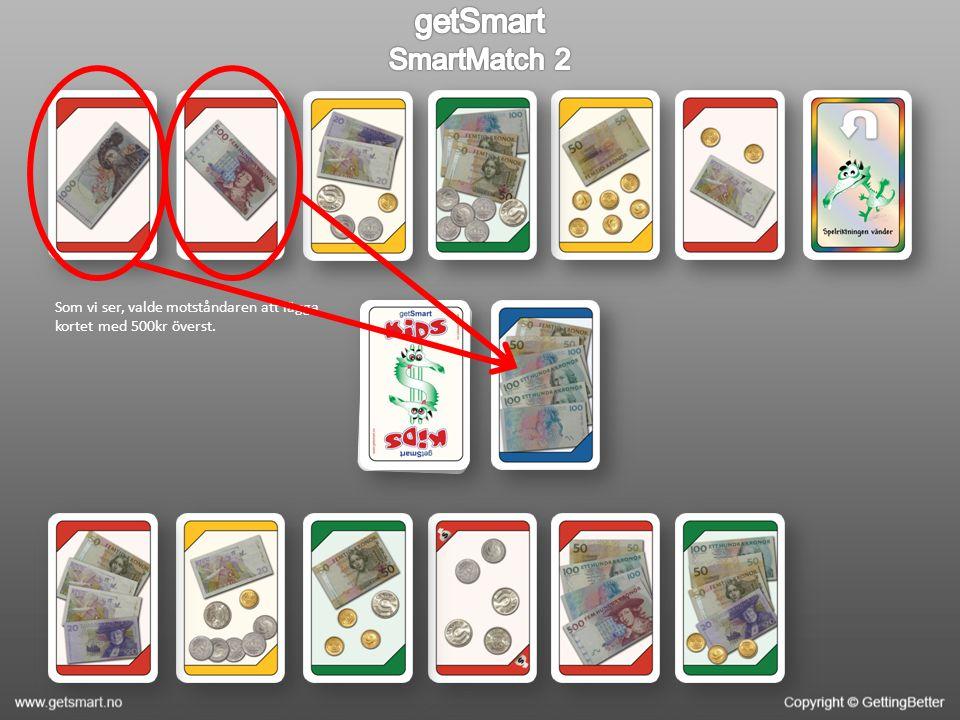 Det är din tur, och du ser att du kan få 500kr genom att kombinera korten nedanför med subtraktion.