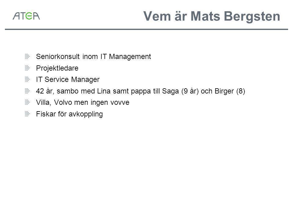 Vem är Mats Bergsten Seniorkonsult inom IT Management Projektledare IT Service Manager 42 år, sambo med Lina samt pappa till Saga (9 år) och Birger (8) Villa, Volvo men ingen vovve Fiskar för avkoppling