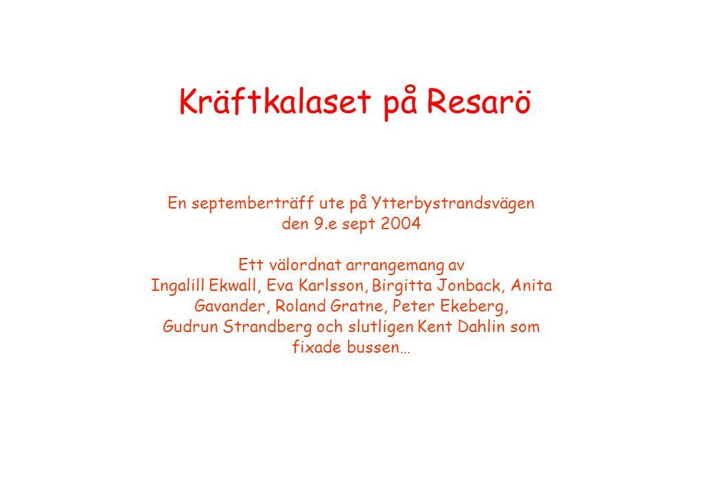 Kräftkalaset på Resarö En septemberträff ute på Ytterbystrandsvägen den 9.e sept 2004 Ett välordnat arrangemang av Ingalill Ekwall, Eva Karlsson, Birg