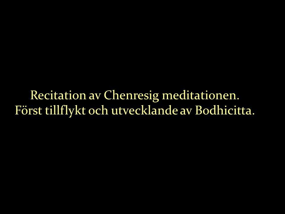 Recitation av Chenresig meditationen. Först tillflykt och utvecklande av Bodhicitta.