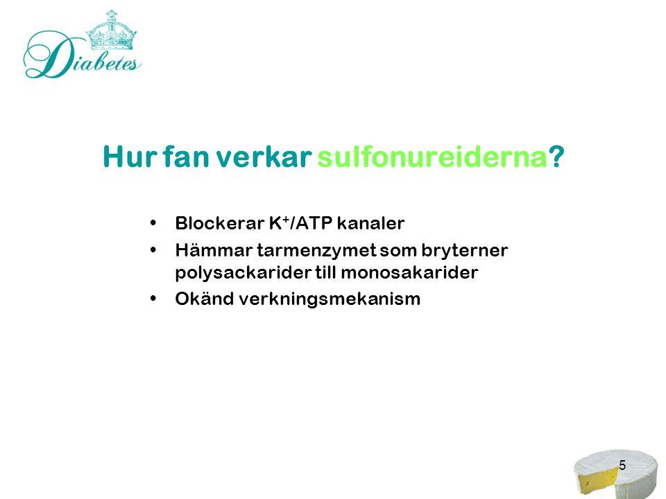 5 Hur fan verkar sulfonureiderna? •Blockerar K + /ATP kanaler •Hämmar tarmenzymet som bryterner polysackarider till monosakarider •Okänd verkningsmeka