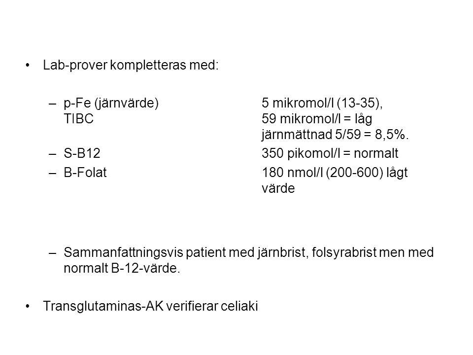 •Lab-prover kompletteras med: –p-Fe (järnvärde) 5 mikromol/l (13-35), TIBC 59 mikromol/l = låg järnmättnad 5/59 = 8,5%. –S-B12 350 pikomol/l = normalt