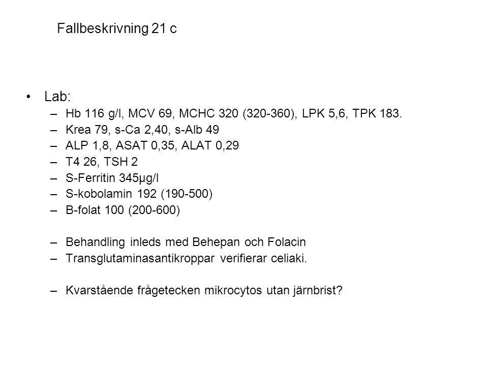 Fallbeskrivning 21 c •Lab: –Hb 116 g/l, MCV 69, MCHC 320 (320-360), LPK 5,6, TPK 183. –Krea 79, s-Ca 2,40, s-Alb 49 –ALP 1,8, ASAT 0,35, ALAT 0,29 –T4