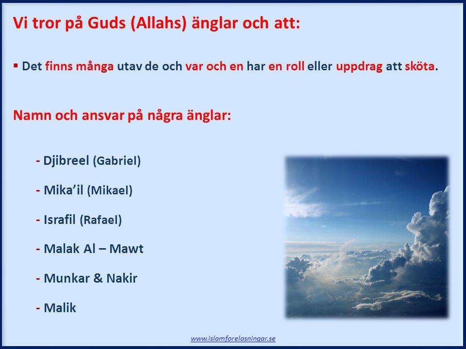 Vi tror på Guds (Allahs) änglar och att:  Det finns många utav de och var och en har en roll eller uppdrag att sköta. Namn och ansvar på några änglar
