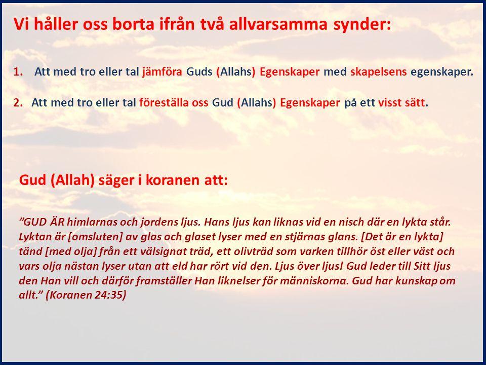 Vi håller oss borta ifrån två allvarsamma synder: 1. Att med tro eller tal jämföra Guds (Allahs) Egenskaper med skapelsens egenskaper. 2.Att med tro e