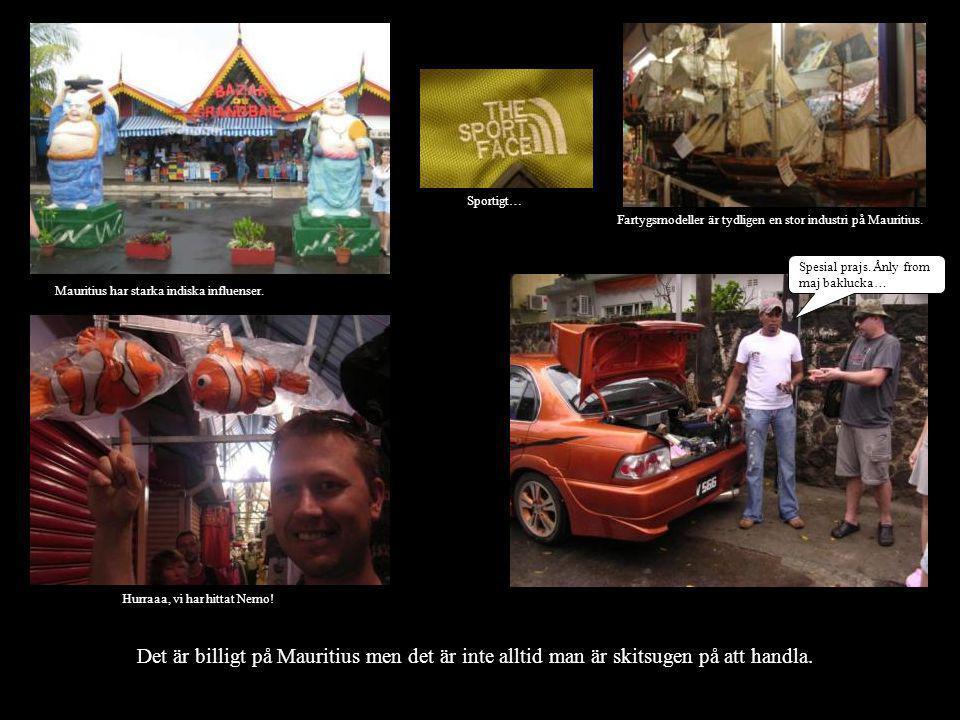 Det är billigt på Mauritius men det är inte alltid man är skitsugen på att handla. Spesial prajs. Ånly from maj baklucka… Fartygsmodeller är tydligen
