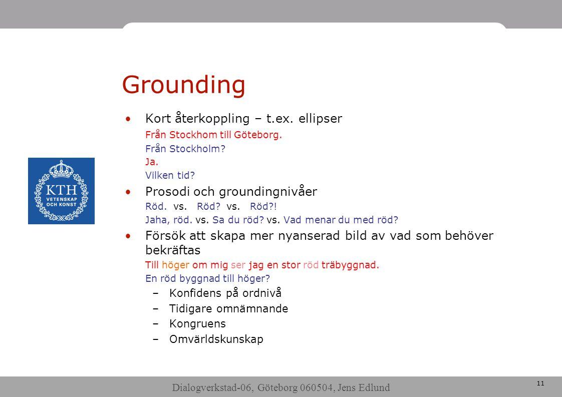 Dialogverkstad-06, Göteborg 060504, Jens Edlund 11 Grounding •Kort återkoppling – t.ex.