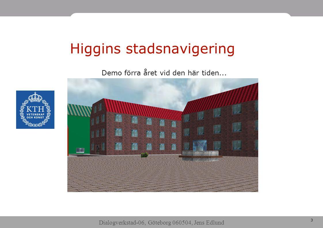 Dialogverkstad-06, Göteborg 060504, Jens Edlund 3 Higgins stadsnavigering Demo förra året vid den här tiden...