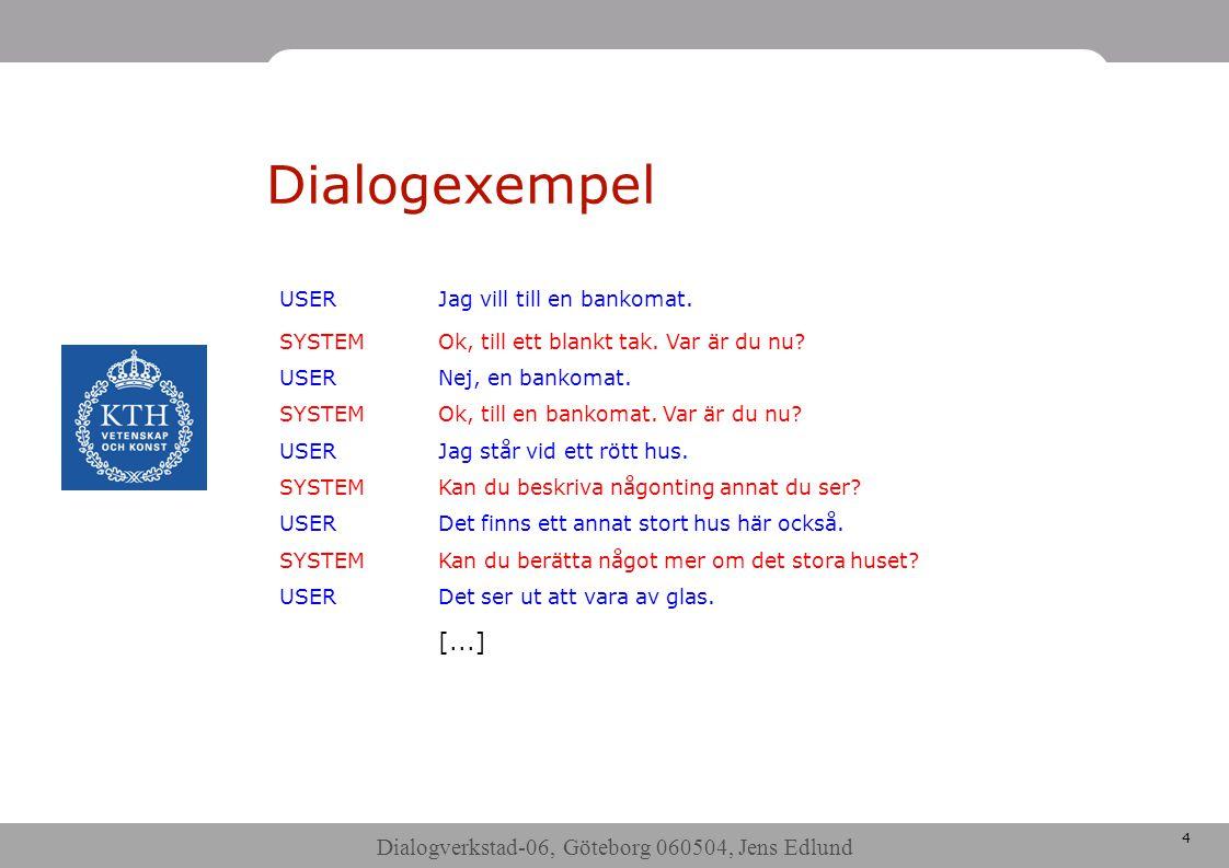 Dialogverkstad-06, Göteborg 060504, Jens Edlund 5 Higgins datainsamling •24 (?) försökspersoner i skarpt system •Uppmärkning pågår •I första hand klarifiering och verifiering