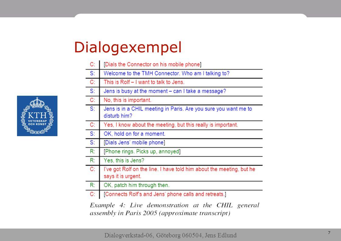 Dialogverkstad-06, Göteborg 060504, Jens Edlund 7 Dialogexempel