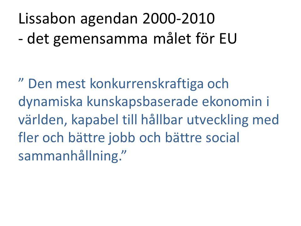 """Lissabon agendan 2000-2010 - det gemensamma målet för EU """" Den mest konkurrenskraftiga och dynamiska kunskapsbaserade ekonomin i världen, kapabel till"""