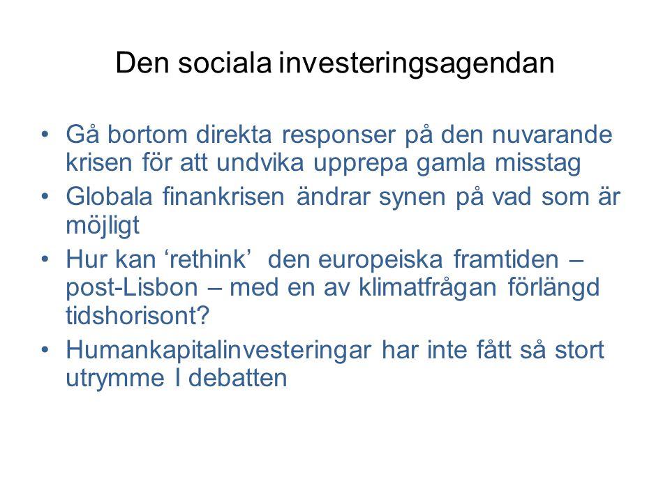 Den sociala investeringsagendan •Gå bortom direkta responser på den nuvarande krisen för att undvika upprepa gamla misstag •Globala finankrisen ändrar