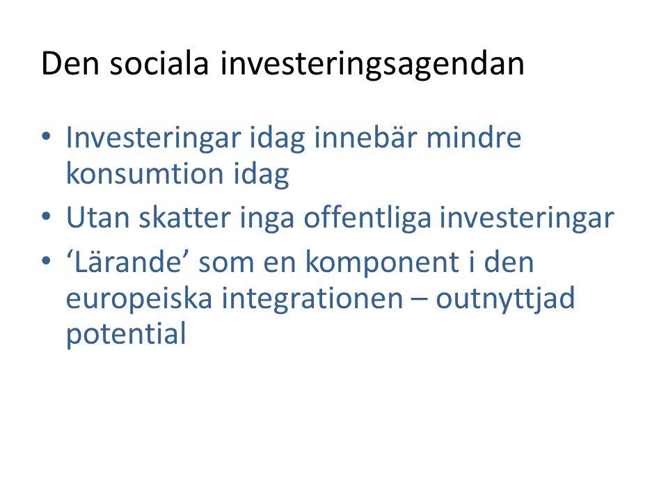 Den sociala investeringsagendan • Investeringar idag innebär mindre konsumtion idag • Utan skatter inga offentliga investeringar • 'Lärande' som en ko