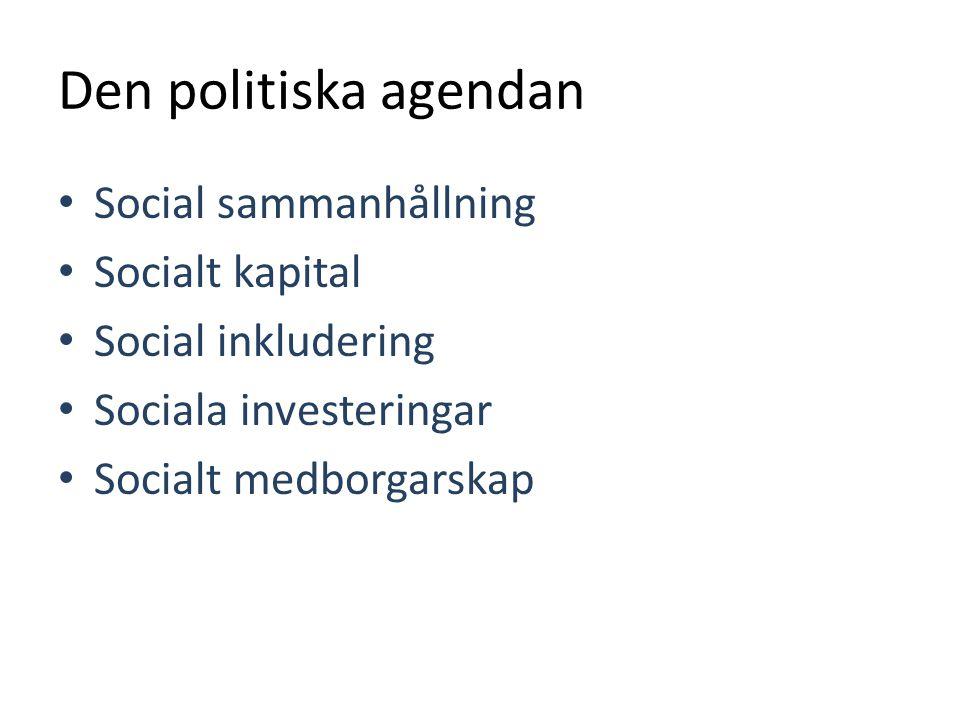 Den politiska agendan • Social sammanhållning • Socialt kapital • Social inkludering • Sociala investeringar • Socialt medborgarskap