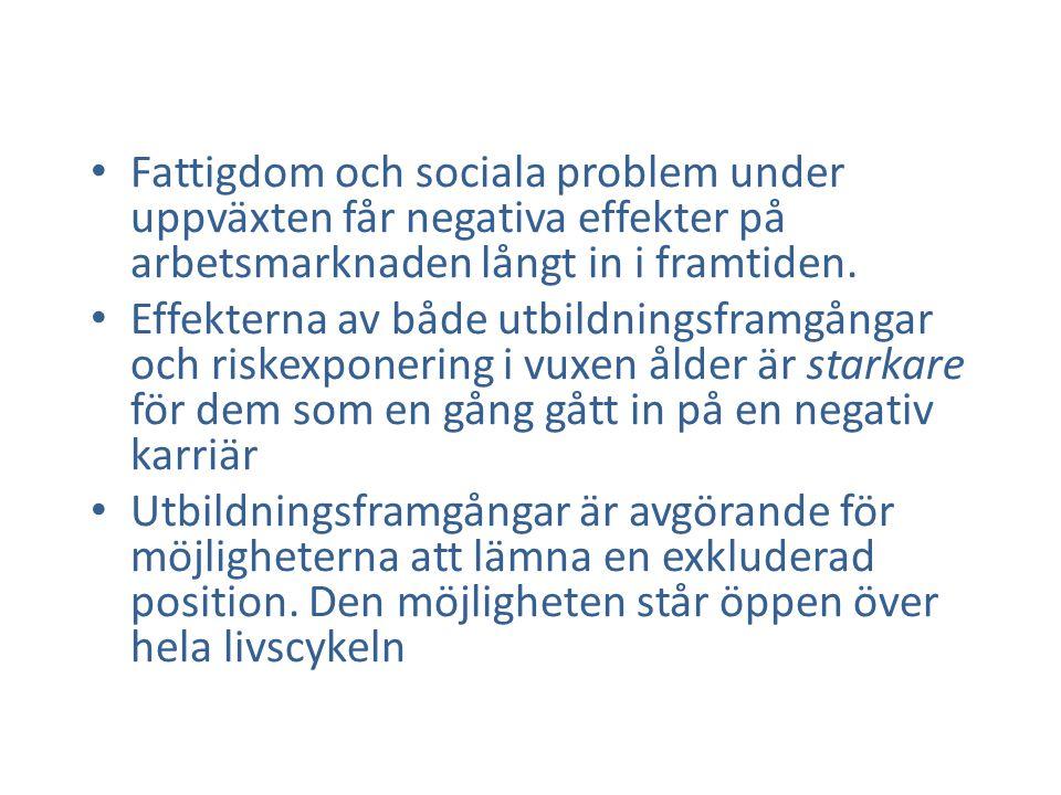 • Fattigdom och sociala problem under uppväxten får negativa effekter på arbetsmarknaden långt in i framtiden. • Effekterna av både utbildningsframgån