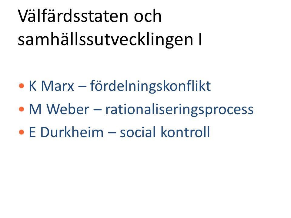 Välfärdsstaten och samhällssutvecklingen I •K Marx – fördelningskonflikt •M Weber – rationaliseringsprocess •E Durkheim – social kontroll