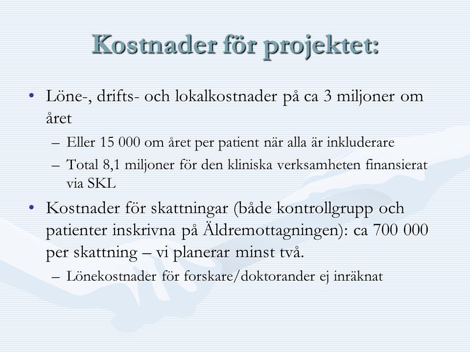 Kostnader för projektet: •Löne-, drifts- och lokalkostnader på ca 3 miljoner om året –Eller 15 000 om året per patient när alla är inkluderare –Total