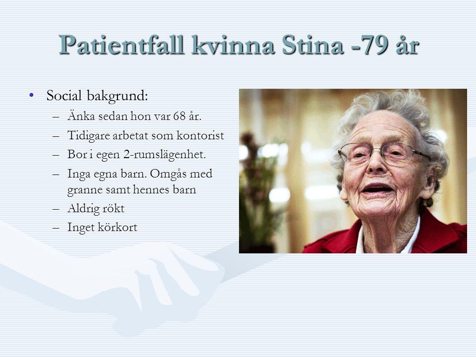Patientfall kvinna Stina -79 år •Social bakgrund: –Änka sedan hon var 68 år. –Tidigare arbetat som kontorist –Bor i egen 2-rumslägenhet. –Inga egna ba