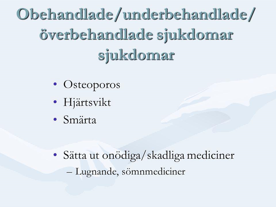 Obehandlade/underbehandlade/ överbehandlade sjukdomar sjukdomar •Osteoporos •Hjärtsvikt •Smärta •Sätta ut onödiga/skadliga mediciner –Lugnande, sömnme