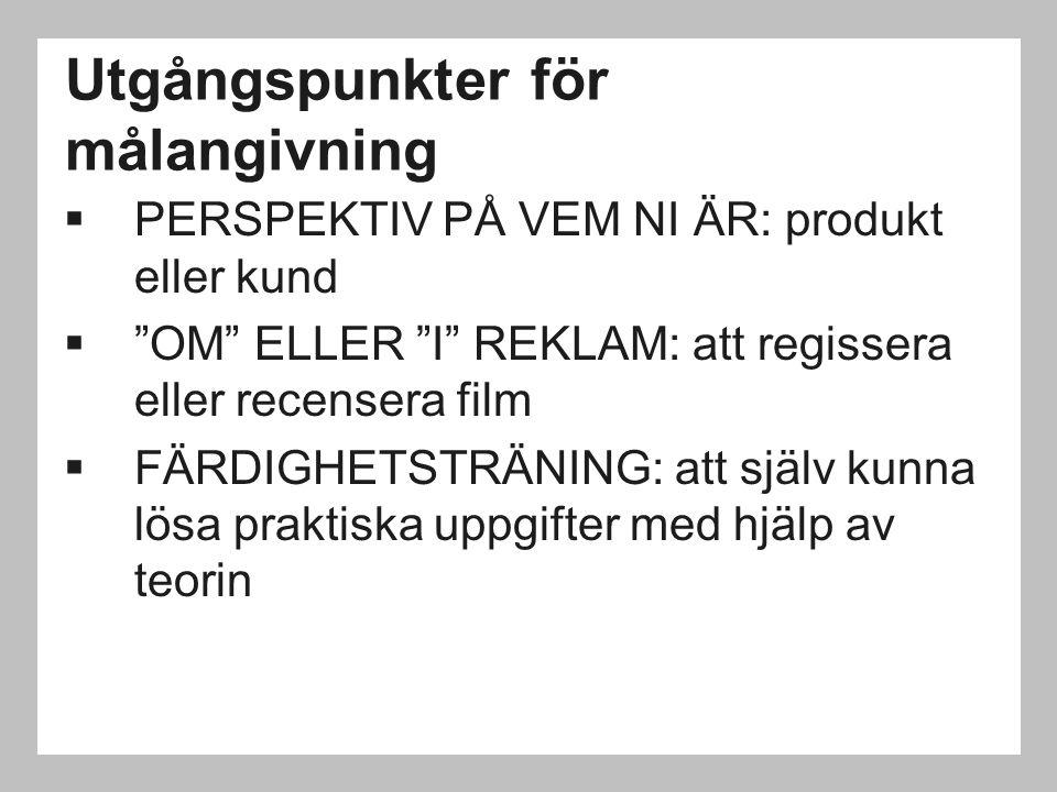 """Utgångspunkter för målangivning  PERSPEKTIV PÅ VEM NI ÄR: produkt eller kund  """"OM"""" ELLER """"I"""" REKLAM: att regissera eller recensera film  FÄRDIGHETS"""