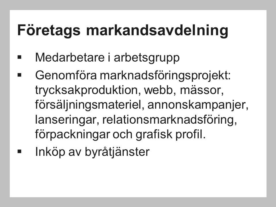 Företags markandsavdelning  Medarbetare i arbetsgrupp  Genomföra marknadsföringsprojekt: trycksakproduktion, webb, mässor, försäljningsmateriel, ann