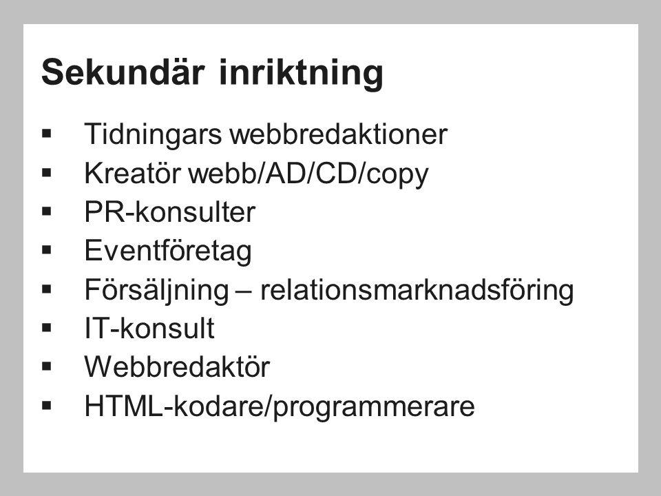 Sekundär inriktning  Tidningars webbredaktioner  Kreatör webb/AD/CD/copy  PR-konsulter  Eventföretag  Försäljning – relationsmarknadsföring  IT-