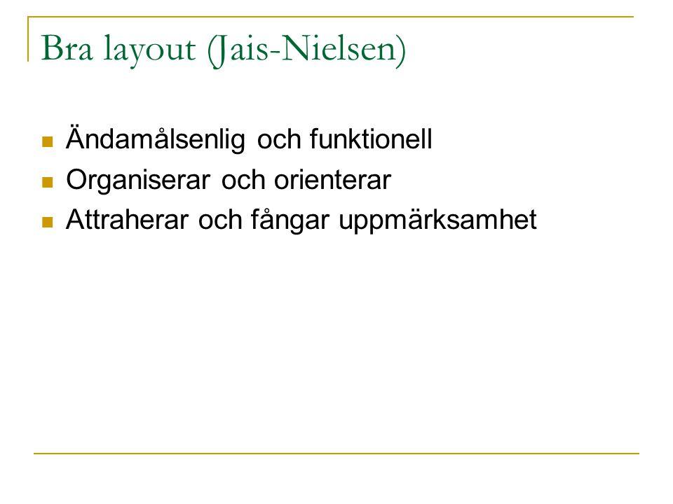 Bra layout (Jais-Nielsen)  Ändamålsenlig och funktionell  Organiserar och orienterar  Attraherar och fångar uppmärksamhet