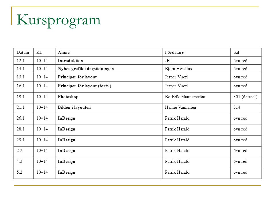 Kursprogram DatumKl.ÄmneFöreläsareSal 12.110–14IntroduktionJHövn.red 14.110–14Nyhetsgrafik i dagstidningenBjörn Heseliusövn.red 15.110–14Principer för layoutJesper Vuoriövn.red 16.110–14Principer för layout (forts.)Jesper Vuoriövn.red 19.110–15PhotoshopBo-Erik Mannerström301 (datasal) 21.110–14Bilden i layoutenHannu Vanhanen314 26.110–14InDesignPatrik Haraldövn.red 28.110–14InDesignPatrik Haraldövn.red 29.110–14InDesignPatrik Haraldövn.red 2.210–14InDesignPatrik Haraldövn.red 4.210–14InDesignPatrik Haraldövn.red 5.210–14InDesignPatrik Haraldövn.red