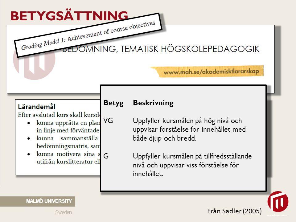 Sweden MALMÖ UNIVERSITY BETYGSÄTTNING BetygBeskrivning VGUppfyller kursmålen på hög nivå och uppvisar förståelse för innehållet med både djup och bred