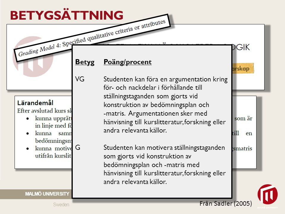 Sweden MALMÖ UNIVERSITY BETYGSÄTTNING Strategier: Formulera kriterier och standards (t.ex.