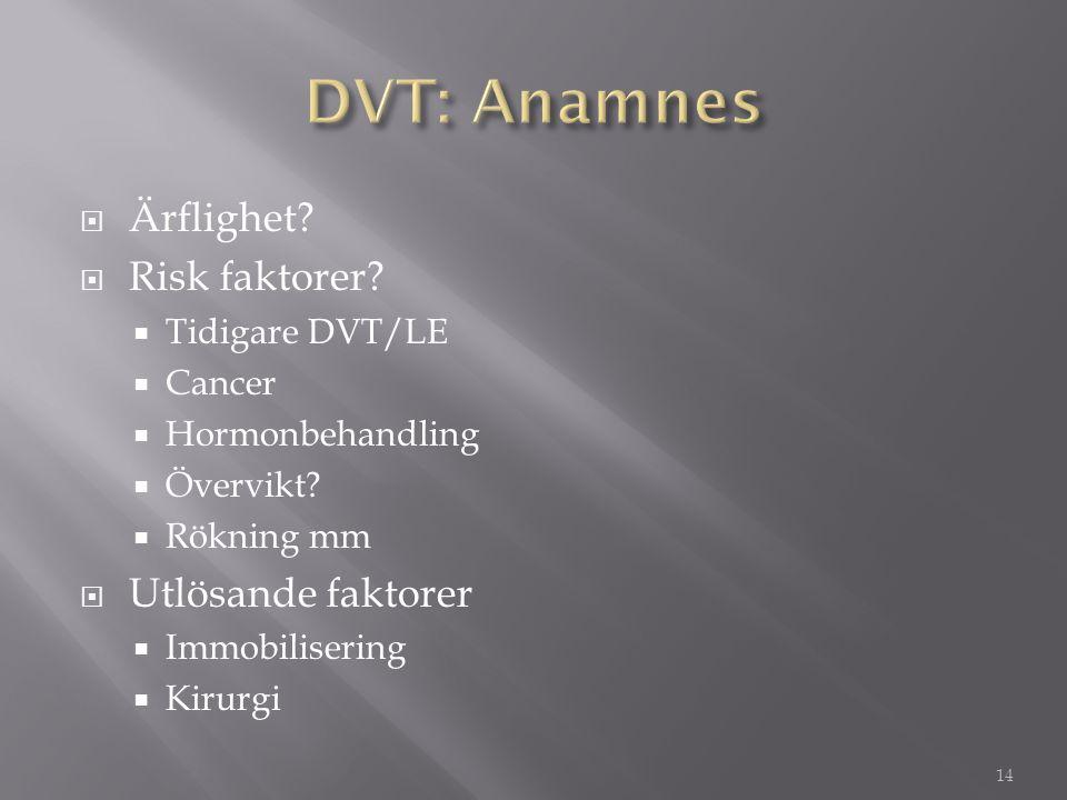  Ärflighet?  Risk faktorer?  Tidigare DVT/LE  Cancer  Hormonbehandling  Övervikt?  Rökning mm  Utlösande faktorer  Immobilisering  Kirurgi 1