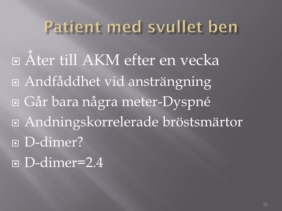  Åter till AKM efter en vecka  Andfåddhet vid ansträngning  Går bara några meter-Dyspné  Andningskorrelerade bröstsmärtor  D-dimer?  D-dimer=2.4