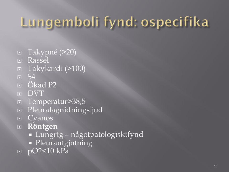  Takypné (>20)  Rassel  Takykardi (>100)  S4  Ökad P2  DVT  Temperatur>38,5  Pleuralagnidningsljud  Cyanos  Röntgen  Lungrtg – någotpatolog