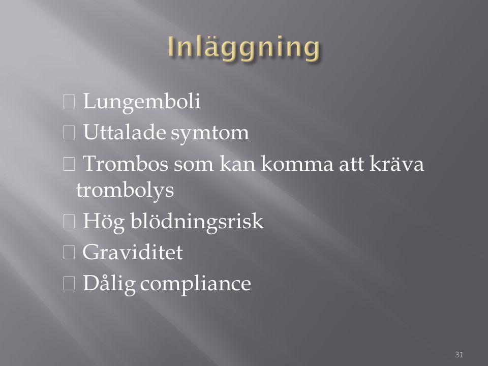 ◆ Lungemboli ◆ Uttalade symtom ◆ Trombos som kan komma att kräva trombolys ◆ Hög blödningsrisk ◆ Graviditet ◆ Dålig compliance 31