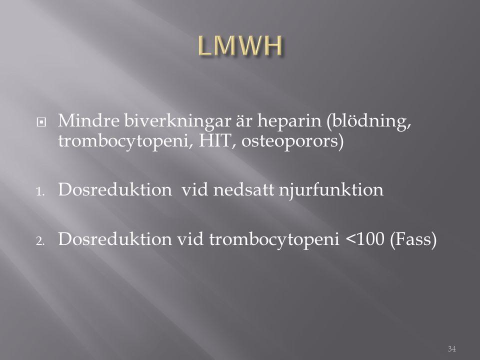  Mindre biverkningar är heparin (blödning, trombocytopeni, HIT, osteoporors) 1. Dosreduktion vid nedsatt njurfunktion 2. Dosreduktion vid trombocytop