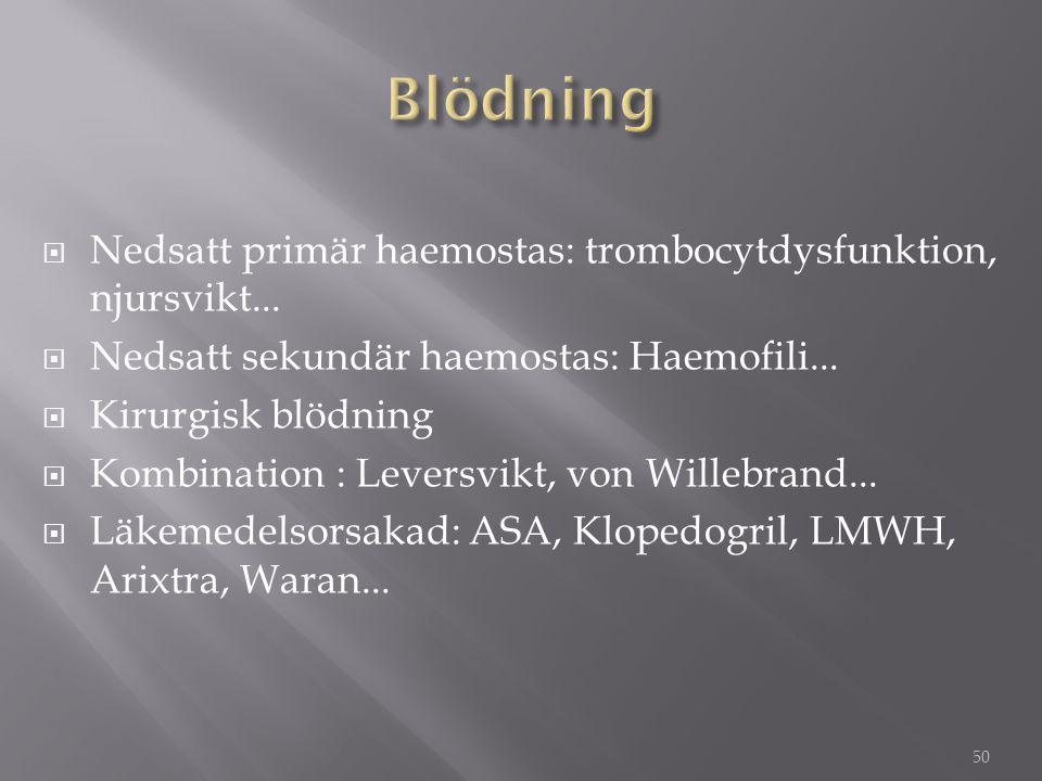  Nedsatt primär haemostas: trombocytdysfunktion, njursvikt...  Nedsatt sekundär haemostas: Haemofili...  Kirurgisk blödning  Kombination : Leversv