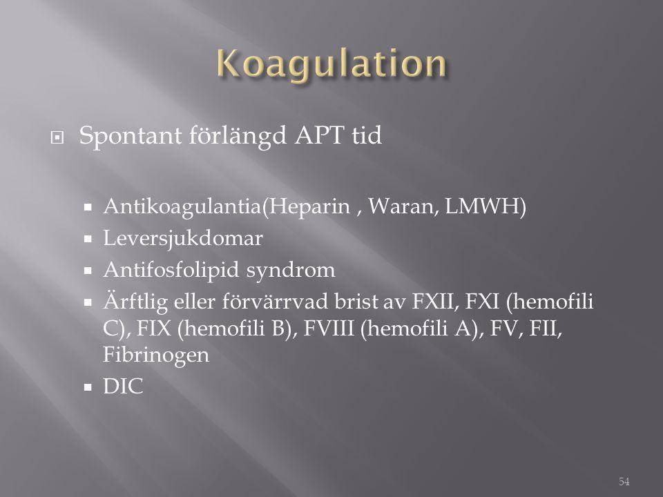 Spontant förlängd APT tid  Antikoagulantia(Heparin, Waran, LMWH)  Leversjukdomar  Antifosfolipid syndrom  Ärftlig eller förvärrvad brist av FXII